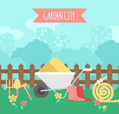 卡通花园城市和园艺工具矢量素材图片