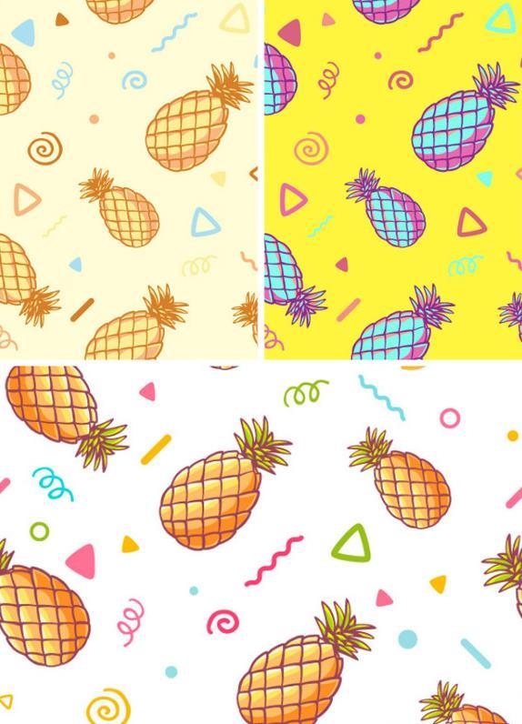 卡通菠萝与花纹设计ai格式