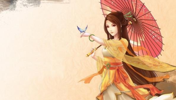 卡通动漫美女高清图片展示了一位具有古代风格的美女,顶着一把古代风
