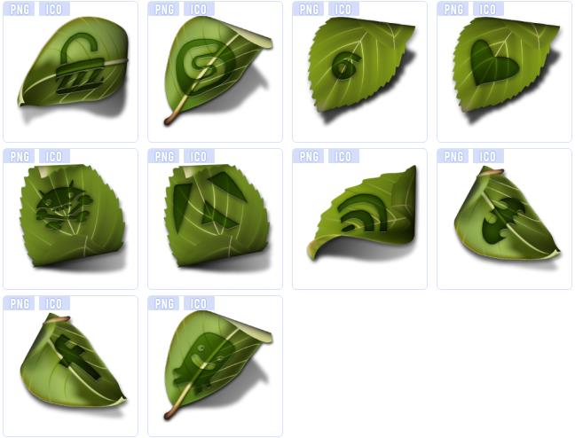 设计png图标中就是以10款绿色的树叶为主要元素设计的logo图标造型哦