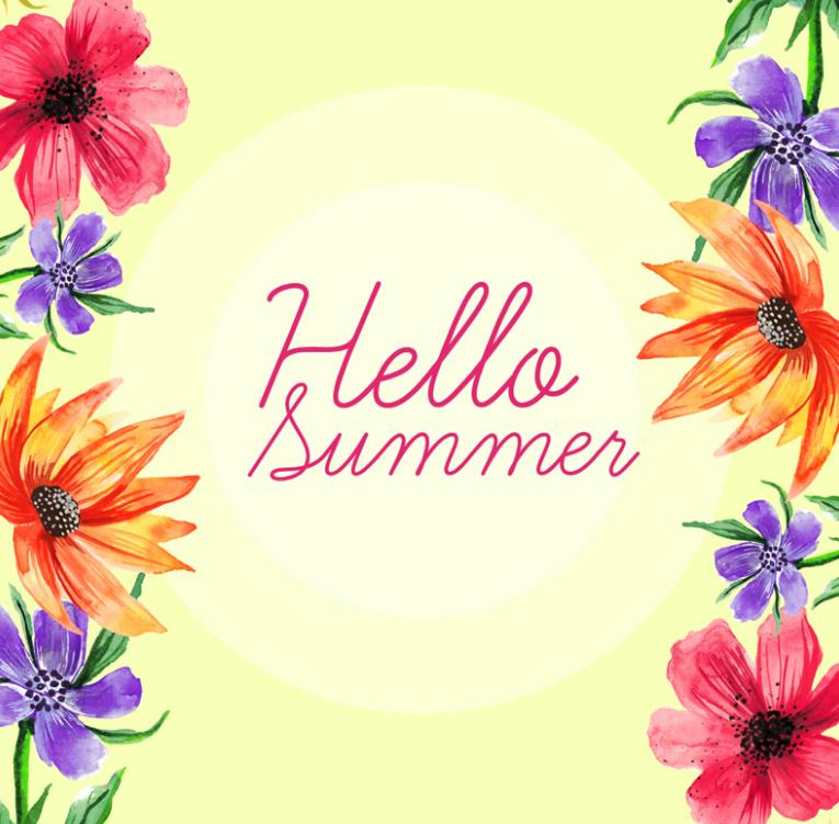 彩色夏季花卉边框设计ai素材