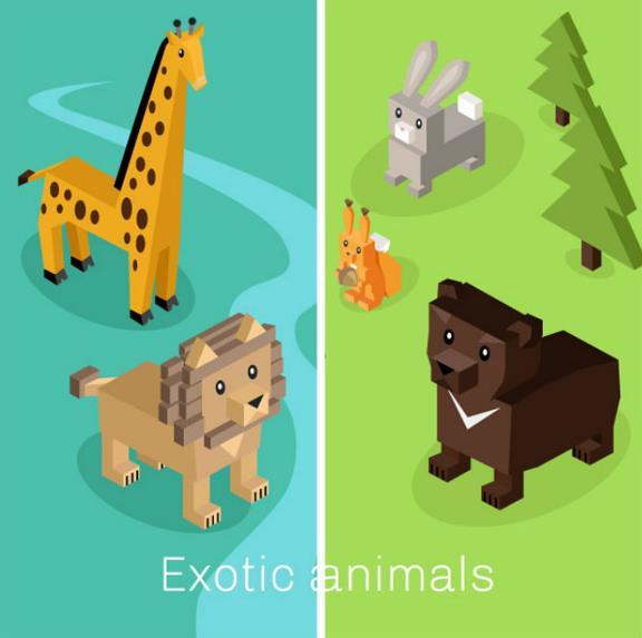 需要以小动物或是大型动物为主题设计的元素可以来卡通几何立体动物矢量图片素材中看看哦,其中加入了立体几何的设计元素,而且还是以几何拼接动物设计的图片,图片中还设计了长劲鹿,斑马,狮子,老虎,小溪,兔子,松树,野生动物等等大型动物和小型动物的身影,需要就来数码资源网看看吧。