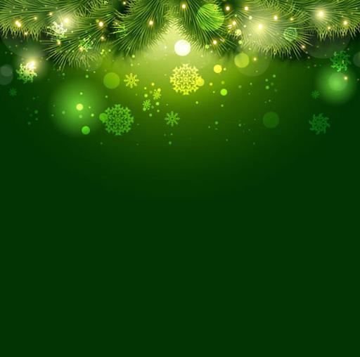 绿色松枝与光晕雪花背景矢量图