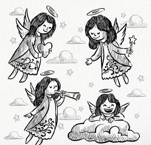 天使都带有一副超级可爱的小翅膀的,而且头上还常有圆形的光环哦,那么手绘黑白色长发天使矢量素材图片中就为设计师们准备了4款不同造型的手绘天使哦,其中有微笑着手捧爱心的,还有张开双手拿着五角星的指挥棒造型,还有闭上眼吹小号的造型和趴在云朵上微笑的造型等等,都是以手绘形式展现而来的哦。