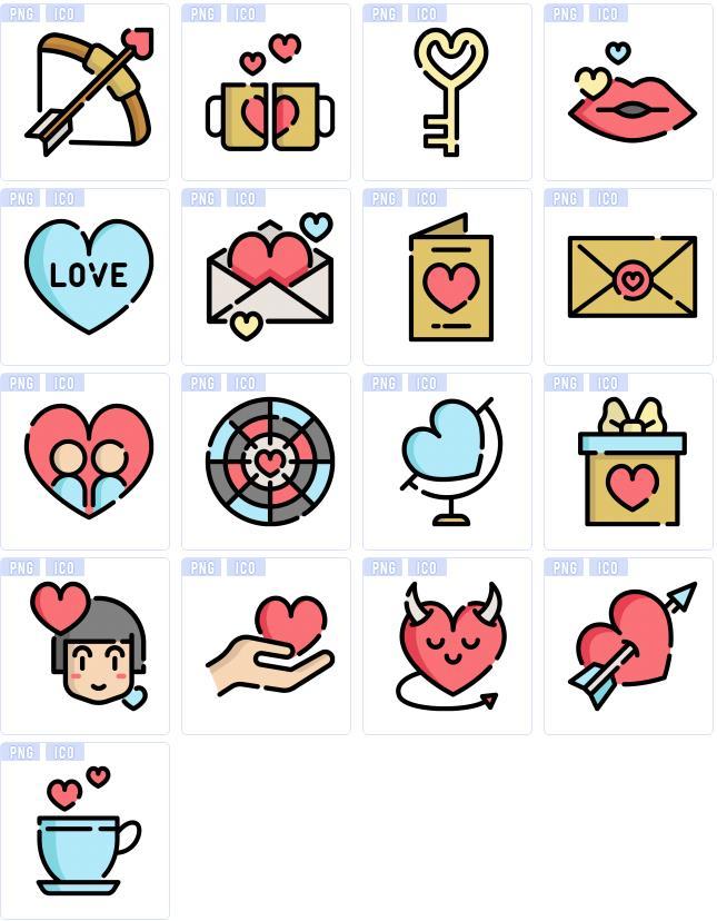 情人节一定不能缺少的除了玫瑰花和巧克力之外还有就是爱心哦,卡通情人节爱心ico图标素材中为大家准备了17张不同造型设计的爱心以及情人节素材哦,都是以卡通可爱的形式展现给大家的,丘比特的爱心箭,情侣爱心杯,金钥匙,红色嘴唇与爱心,信封中的爱心,地球仪形式的爱心,礼盒上的爱心,一箭穿爱心等等都是以红色爱心为主题设计的哦。