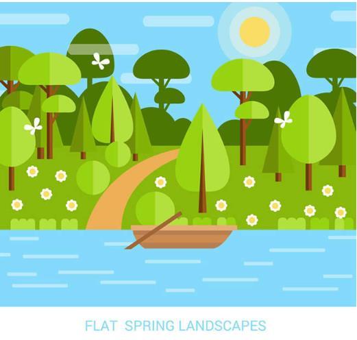 春季的风景简直太迷人了,就像扁平化春季河流小船风景设计矢量图中为大家所描述的一样,蓝天加上又大又圆的太阳,树林也披上了绿色的服装,河岸边小草花朵也刚刚绽放,加上流水清澈的河岸边听着一艘简易的小船,整体带给设计师们一个清新的夏日风景设计,最下方还加入了蓝色字体的英文字母图样。