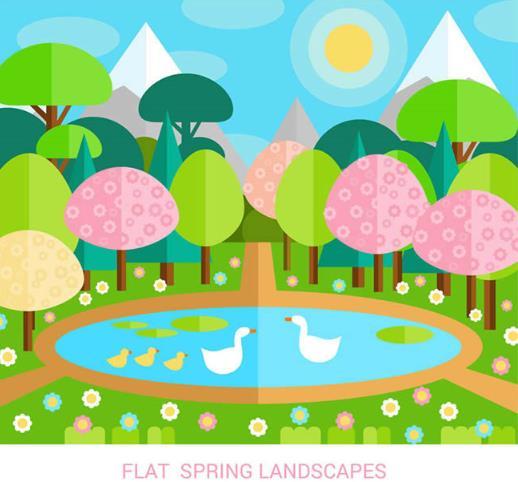 首页 资源下载 平面素材 矢量素材 风景 > 彩色春季池塘自然风景矢量