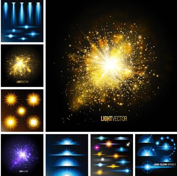 光效金色粒子发光背景矢量素材图片
