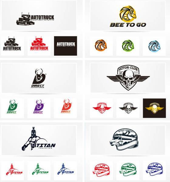 多彩logo造型矢量素材设计