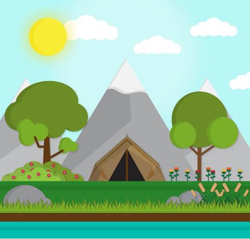 雪山下的帐篷彩色风景矢量素材
