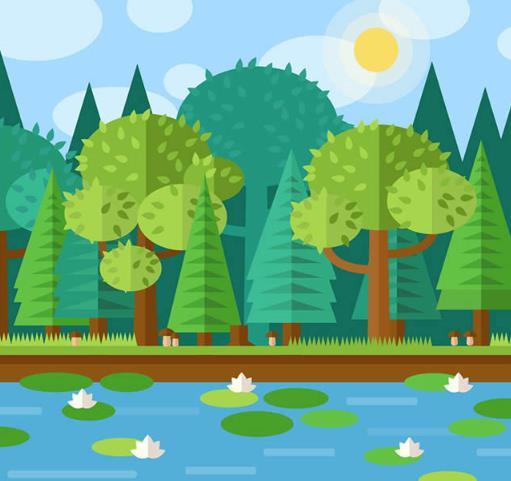 卡通扁平化荷花池风景矢量图片素材
