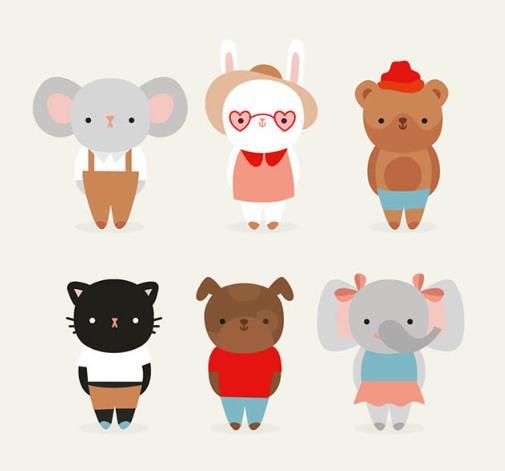 卡通彩色可爱着装动物设计矢量素材
