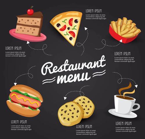 创意黑色背景餐馆菜单设计矢量图片素材