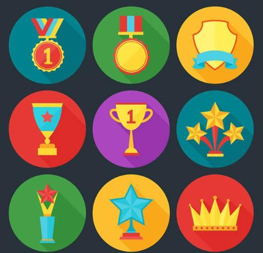 彩色精美奖牌和奖杯设计ai素材