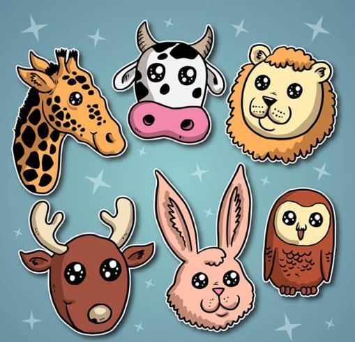 创意卡通星星眼动物头像矢量图下载