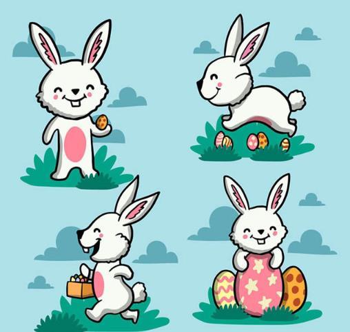 可爱白兔与彩蛋矢量素材设计