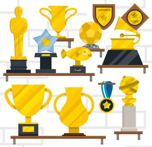 扁平化金色奖杯与奖牌矢量素材图片