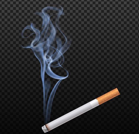 黑白格子背景中的香烟烟气矢量图