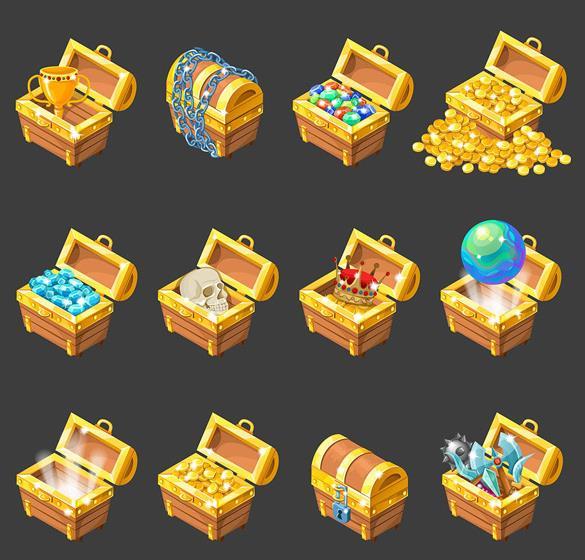 卡通金色金币珠宝箱子矢量图