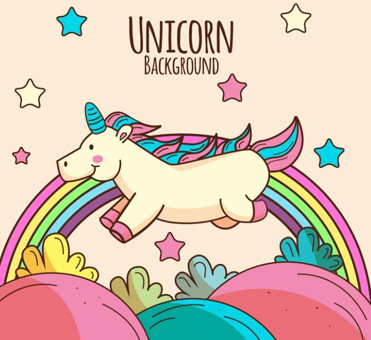 独角兽的形象本来就萌翻了众人的心,在加上是以卡通形式展现的就更加可爱了,卡通风格奔跑的独角兽与彩虹矢量图片素材中就以卡通类型设计的可爱的独角兽哦,背景还加入了五颜六色的彩虹,彩虹下方还有各种颜色五角星和绿色小草的设计,中间还加入了棕色抽象的英文字母造型。