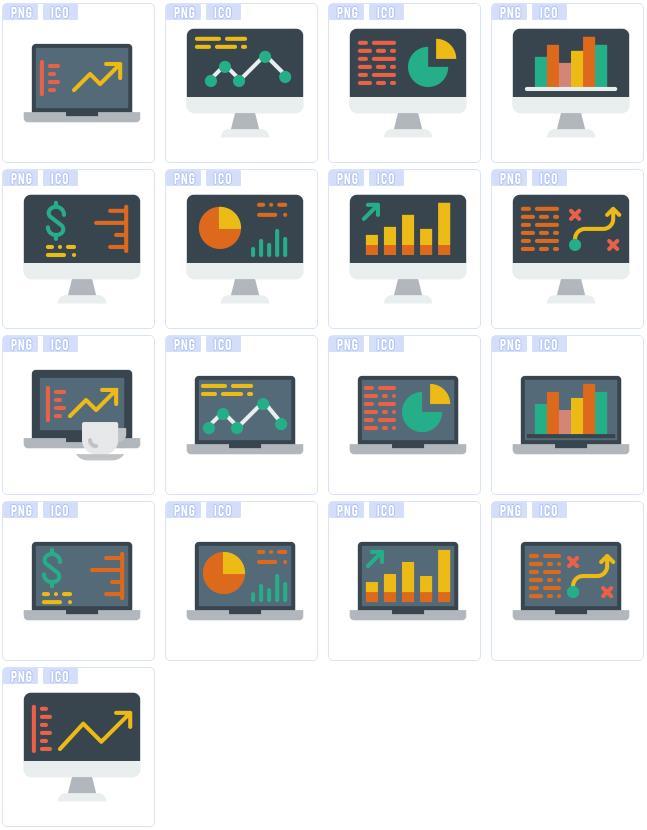 首页 资源下载 平面素材 矢量素材 图标 > 办公数据电脑ico图标设计