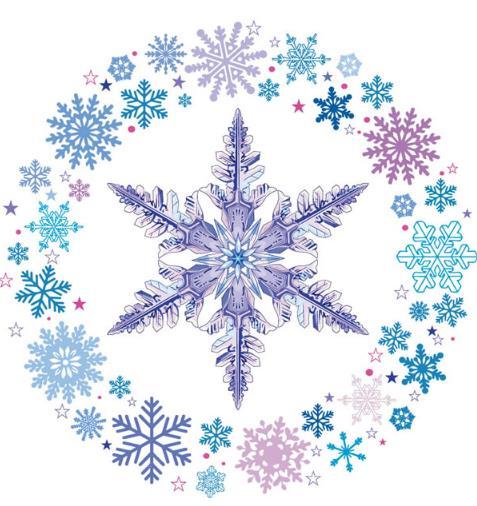 唯美雪花环和冰晶设计矢量素材图片