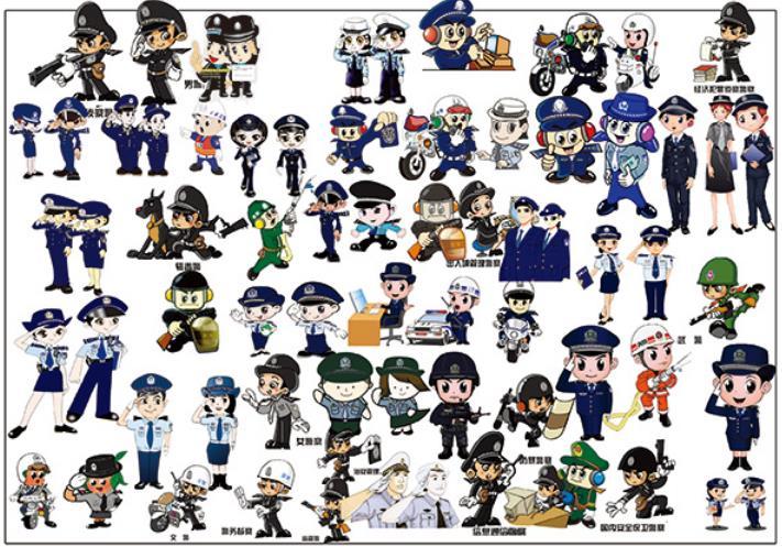 卡通警察人物素材psd源文件下载图片