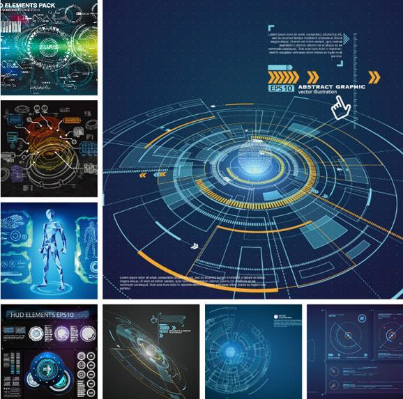 蓝色背景科技图形设计ai素材