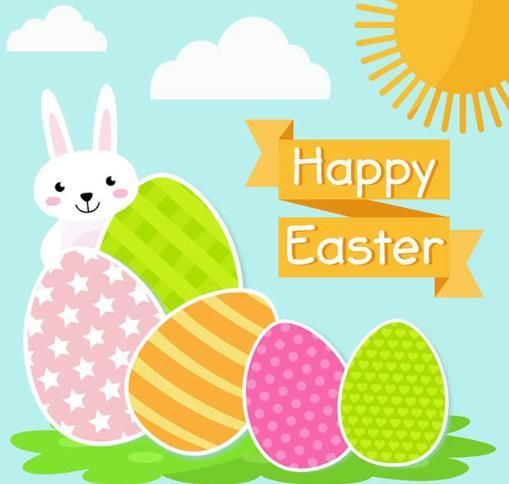 卡通彩蛋和白兔复活节贺卡矢量图