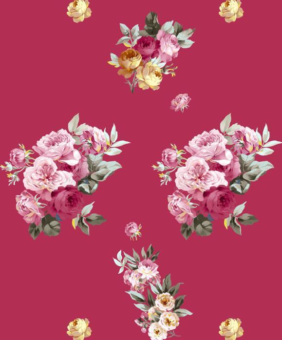 复古手绘玫瑰花psd分层素材