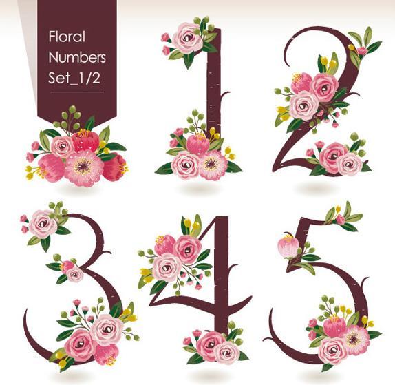 花卉附加在数字上面的素材你见过吗?没有的话可以选择这款创意花朵数字设计矢量图,其中为大家展现了1-5的数字素材,不仅只有数字哦,数字上布满了粉色鲜艳的花卉设计,背景可是以白色为主题设计的哦,而且左侧还设计了棕色条幅的元素,上面加入了白色的英文字体。