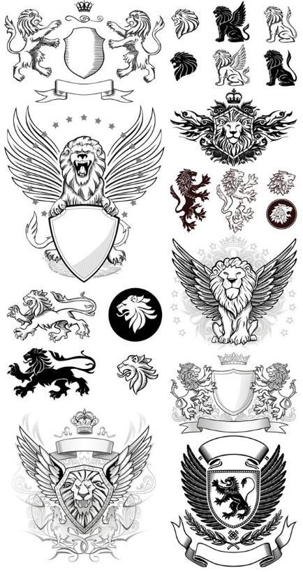手绘狮子皇冠盾牌徽章矢量素材图片