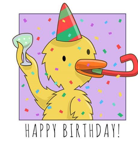 卡通黄鸭彩色生日贺卡矢量图