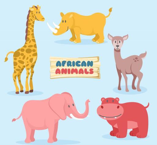 卡通可爱非洲野生动物矢量素材