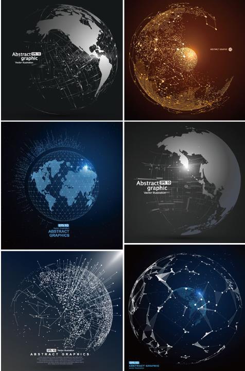 6款抽象地球背景设计ai素材