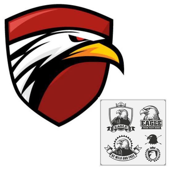 动物中老鹰也属于非常凶猛的,在生活中鹰也被誉为快,狠,准的代表,那么设计人员可以选择这款鹰标徽章标志设计矢量素材,其中设计了5组鹰头的设计,四款都是以黑白色手绘形式展现的,其中还有一个大大的彩色鹰头的设计,眼神中带有厮杀的凶猛,需要就来本站下载吧。