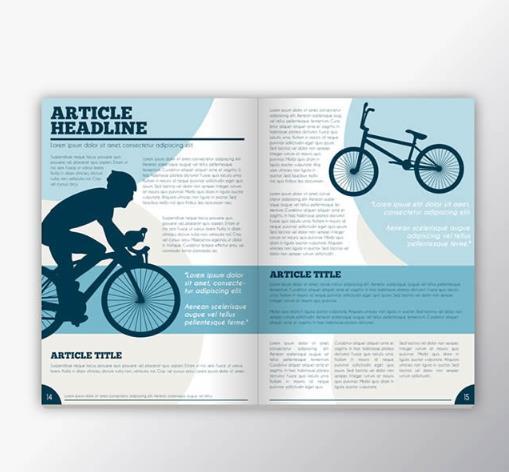 以杂志的形式展现的这款运动杂志书刊设计矢量素材可是非常具有创意的,其中杂志是翻开造型设计的,排版简单,以蓝色与白色为主要背景设计,杂志的字体当然设计为黑色,非常抢眼的则是剪影造型的骑手骑着单车的造型设计,右上角也设计了款剪影造型的单车素材,需要就来本站下载吧。