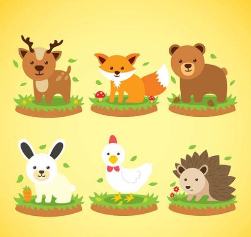 可爱的小动物素材形象哦,黄色背景图片中为大家呈现着鹿,狐狸,熊兔子