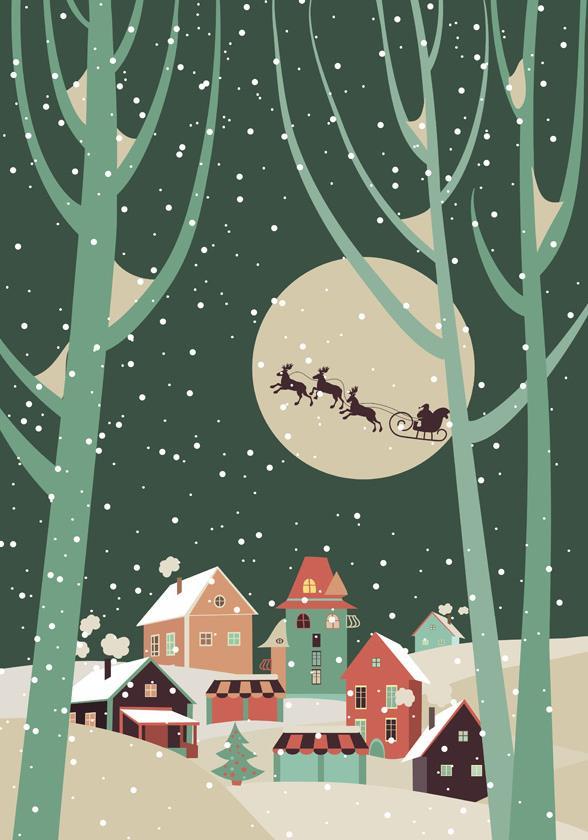 卡通圣诞节的夜晚矢量素材图片