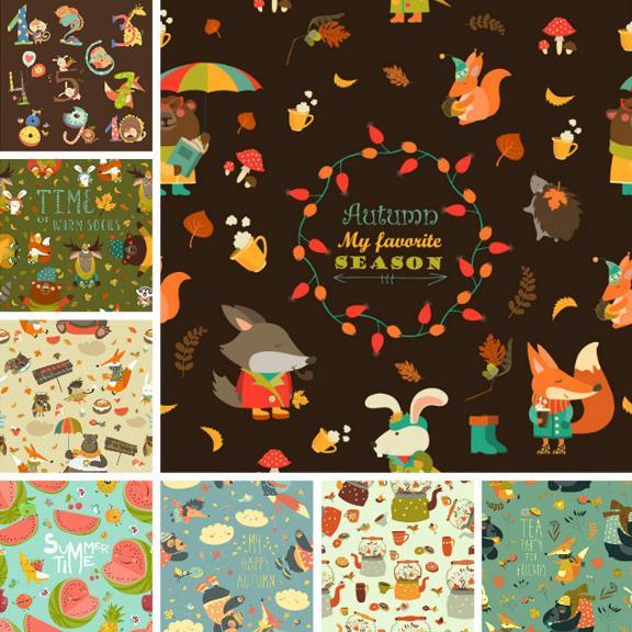 卡通创意动物与植物背景矢量图片素材