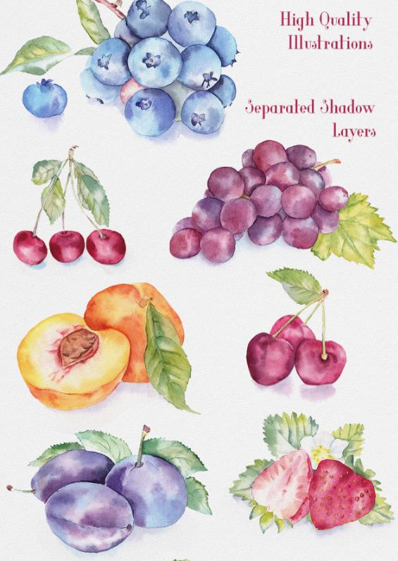 创意水彩手绘水果插画psd分层素材