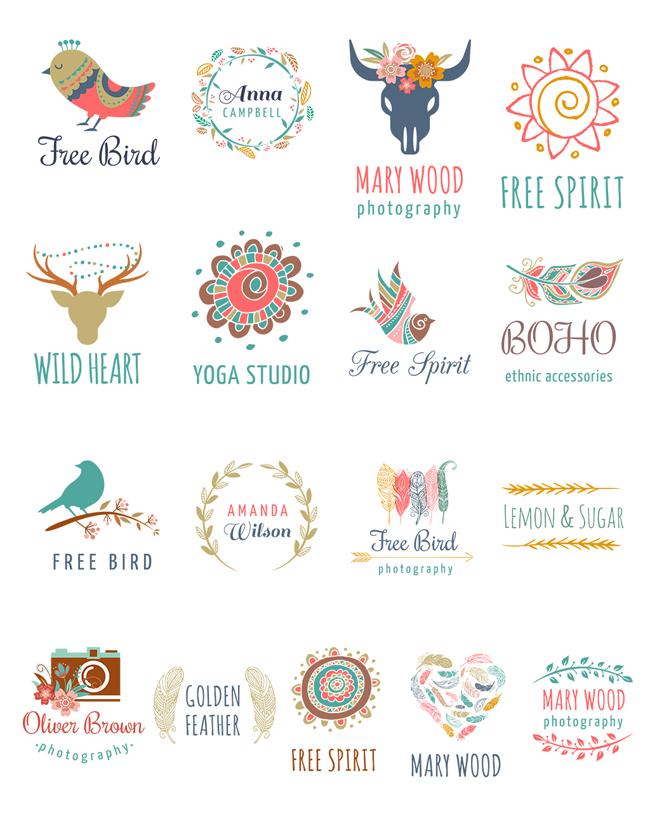 logo的设计十分有讲究,每个人都有自己喜欢的风格。如果你也喜欢小清新的话,不如来小清新波西米亚风LOGO设计psd素材中看看吧!这里有多款logo的设计,以清新唯美的风格为主,每款都有自己独特的含义和设计。颜色搭配的十分协调,设计中的英文部分可以换成您自己的名字哦!喜欢的话就快快下载吧!