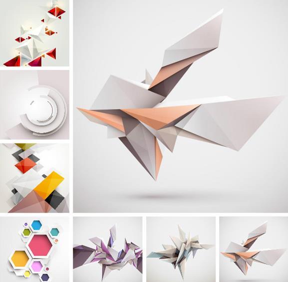 几何立体图案设计矢量图
