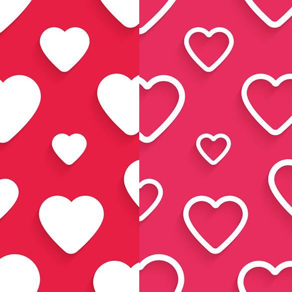 红色背景不仅仅只是看着喜庆还有很多意义,其中爱心红色无缝背景矢量素材设计中就为大家准备了以红色为背景设计的素材,主角可是对称的爱心设计,共计两组不同的爱心设计,一组白色爱心是实芯儿设计而成,另一组则是以空芯儿设计而成,相同的是背景都是同一个颜色设计的。
