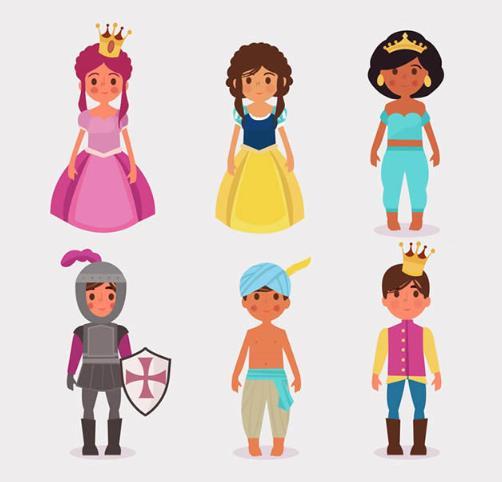 童话里都是骗人的不仅仅知识一组歌词哦,彩色卡通童话人物设计AI素材中就为设计者们准备了6款童话小人物的设计,其中包括童话里的王子和公主,还有骑士等人物角色的设计,王子穿着一身帅气的服饰,公主头戴皇冠穿着一身蓬蓬裙,都是以童话的角色展现给大家的,需要就来下载吧。