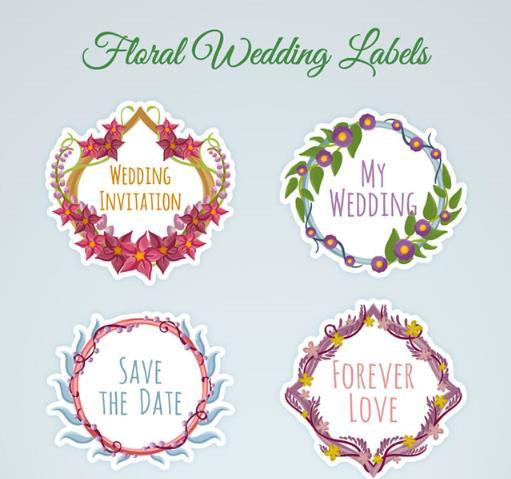彩色婚礼花卉标签矢量素材