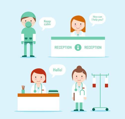 这款扁平化医务人员矢量素材设计可是以医生和护士为元素设计的主要,其中背景为蓝色,共计设计了4组不同造型的医护人物,穿隔离服带口罩的,一身白大褂带着听诊器的医生,还有两组穿白大褂在前台值班的护士,以上都是与医疗医护有关的素材,需要就来本站下载吧。