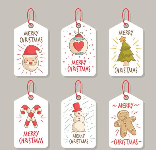 小时候过圣诞节可是最开心的事情了,那么小编就为设计者们准备了一组以圣诞节为主要题材设计的图片,在这款6款卡通圣诞节祝福吊牌矢量图中共设计了6款卡通形式展现而来的圣诞吊牌,其中有圣诞来人头像,礼物挂件,圣诞树,圣诞老人拐杖,雪人,玩偶等多种圣诞元素的加入。