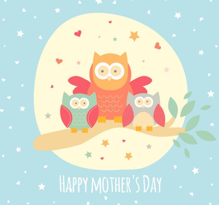 在母亲节来临之际大家想好要给你们的母亲买什么礼物了吗?可爱卡通猫头鹰母亲节贺卡矢量素材中就是以母亲节为主要题材设计的图片内容,其中是以卡通形式展现给大家的,蓝色背景上加入白色星星和爱心,中间黄色圆形类似月亮的造型上一组卡通树枝造型上站着三个猫头鹰,猫头鹰妈妈站在中间,两个小猫头鹰则在妈妈臂膀下显的非常安全,呈现了猫头鹰妈妈悉心照料猫头鹰爱子的画面。