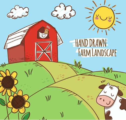 手绘卡通美丽农场风景矢量图片素材